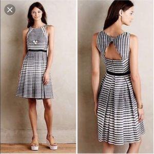 Eva Franco black white striped fit flare dress 12